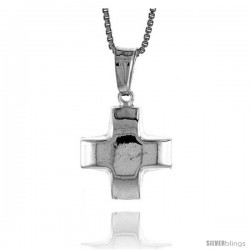 Sterling Silver Cross Pendant, Made in Italy. 9/16 in. (15 mm) Tall -Style Iph82