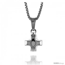 Sterling Silver Teeny Cross Pendant, Made in Italy. 1/4 in. (7 mm) Tall