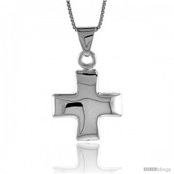 Sterling Silver Cross Pendant, Made in Italy. 13/16 in. (21 mm) Tall