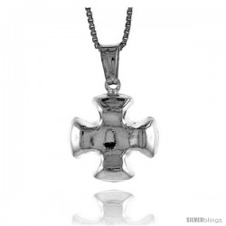 Sterling Silver Cross Pendant, Made in Italy. 9/16 in. (15 mm) Tall -Style Iph88