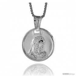 Sterling Silver Padre Pio Medal, Made in Italy. 9/16 in. (15 mm) in Diameter.