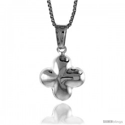 Sterling Silver Cross Pendant, Made in Italy. 9/16 in. (14 mm) Tall