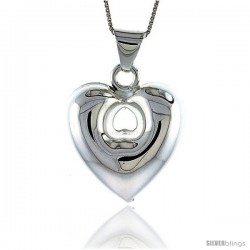 Sterling Silver Large Puffed Heart w/ Cut Out Pendant, Made in Italy. 1 1/16 in. (28 mm) Tall