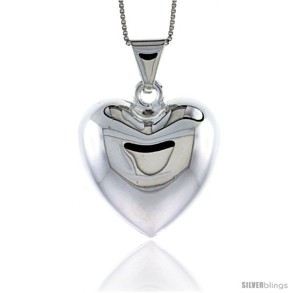Sterling silver puffed heart pendant made in italy 1 18 in 29 undefined aloadofball Images