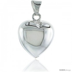 Sterling Silver Puffed Heart Pendant, Made in Italy. 13/16 in. (21 mm) Tall