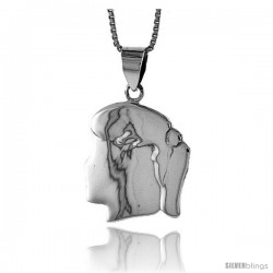 Sterling Silver Flat Girl's Head Pendant, Made in Italy. 13/16 in. (21 mm) Tall