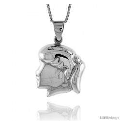 Sterling Silver Puffed Girl's Head Pendant, Made in Italy. 13/16 in. (21 mm) Tall
