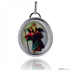 Sterling Silver Saint Joseph & Holy Child Baby Jesus Charm Made in Italy 1 in tall