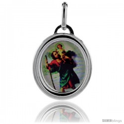 Sterling Silver Saint Joseph & Holy Child Baby Jesus Charm Made in Italy 3/4 in tall