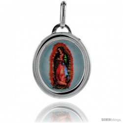 Sterling Silver Guadalupe Charm Made in Italy 3/4 in tall