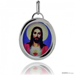 Sterling Silver Sacred Heart of Jesus Charm Made in Italy 1 in tall
