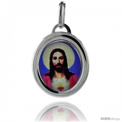 Sterling Silver Sacred Heart of Jesus Charm Made in Italy 3/4 in tall