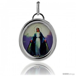 Sterling Silver Immaculate Conception of Mary Charm Made in Italy 1 in tall