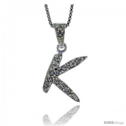 Sterling Silver Fancy Initial Letter K Pendant with Cubic Zrconia Stones, 3/4 in long