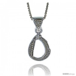 Sterling Silver Fancy Initial Letter O Pendant with Cubic Zrconia Stones, 3/4 in long