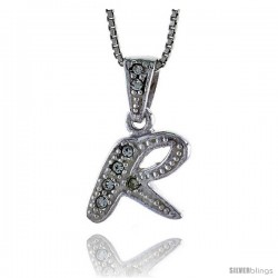 Sterling Silver Fancy Initial Letter R Pendant with Cubic Zrconia Stones, 3/4 in long