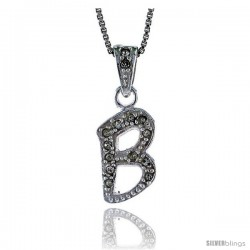 Sterling Silver Fancy Initial Letter B Pendant with Cubic Zrconia Stones, 3/4 in long