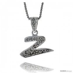 Sterling Silver Fancy Initial Letter Z Pendant with Cubic Zrconia Stones, 3/4 in long