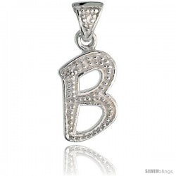 Sterling Silver Fancy Initial Letter B Initial Pendant CZ Stone, 3/4 in long