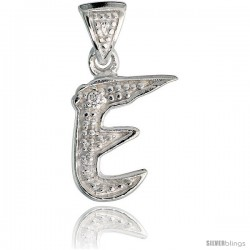 Sterling Silver Fancy Initial Letter E Initial Pendant CZ Stone, 3/4 in long