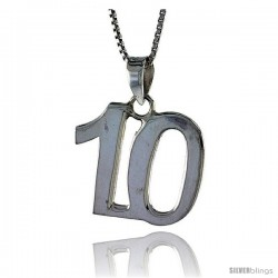 Sterling Silver Digit Number 10 Pendant 3/4 in. (18 mm)