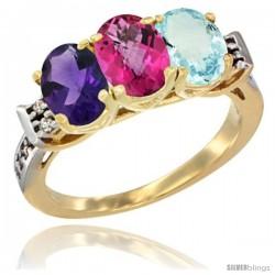 10K Yellow Gold Natural Amethyst, Pink Topaz & Aquamarine Ring 3-Stone Oval 7x5 mm Diamond Accent