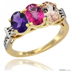 10K Yellow Gold Natural Amethyst, Pink Topaz & Morganite Ring 3-Stone Oval 7x5 mm Diamond Accent
