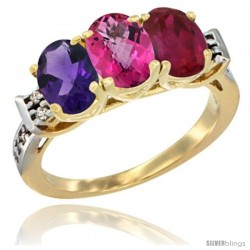 10K Yellow Gold Natural Amethyst, Pink Topaz & Ruby Ring 3-Stone Oval 7x5 mm Diamond Accent