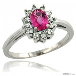 Sterling Silver Natural Pink Topaz Diamond Halo Ring Oval Shape 1.2 Carat 6X4 mm, 1/2 in wide
