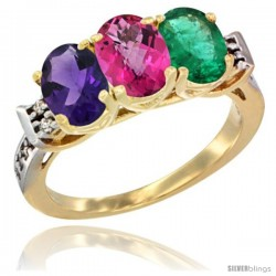 10K Yellow Gold Natural Amethyst, Pink Topaz & Emerald Ring 3-Stone Oval 7x5 mm Diamond Accent