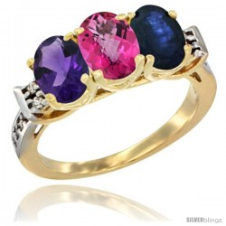 10K Yellow Gold Natural Amethyst, Pink Topaz & Blue Sapphire Ring 3-Stone Oval 7x5 mm Diamond Accent