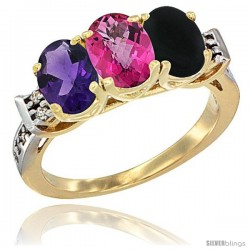 10K Yellow Gold Natural Amethyst, Pink Topaz & Black Onyx Ring 3-Stone Oval 7x5 mm Diamond Accent