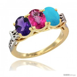 10K Yellow Gold Natural Amethyst, Pink Topaz & Turquoise Ring 3-Stone Oval 7x5 mm Diamond Accent
