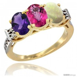 10K Yellow Gold Natural Amethyst, Pink Topaz & Opal Ring 3-Stone Oval 7x5 mm Diamond Accent
