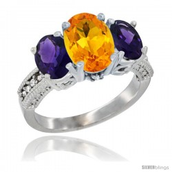 10K White Gold Ladies Natural Citrine Oval 3 Stone Ring with Amethyst Sides Diamond Accent