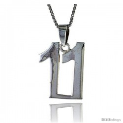 Sterling Silver Digit Number 11 Pendant 3/4 in. (18 mm)