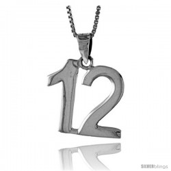 Sterling Silver Digit Number 12 Pendant 3/4 in. (18 mm)