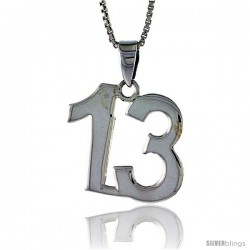 Sterling Silver Digit Number 13 Pendant 3/4 in. (18 mm)