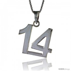 Sterling Silver Digit Number 14 Pendant 3/4 in. (18 mm)