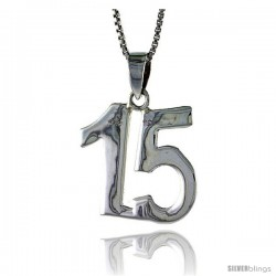 Sterling Silver Digit Number 15 Pendant 3/4 in. (18 mm)