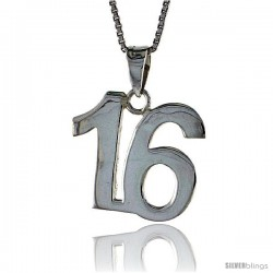 Sterling Silver Digit Number 16 Pendant 3/4 in. (18 mm)