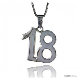 Sterling Silver Digit Number 18 Pendant 3/4 in. (18 mm)