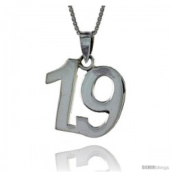 Sterling Silver Digit Number 19 Pendant 3/4 in. (18 mm)