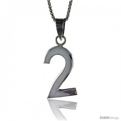 Sterling Silver Digit Number 2 Pendant 3/4 in. (18 mm)