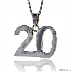 Sterling Silver Digit Number 20 Pendant 3/4 in. (18 mm)
