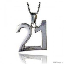 Sterling Silver Digit Number 21 Pendant 3/4 in. (18 mm)