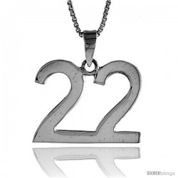 Sterling Silver Digit Number 22 Pendant 3/4 in. (18 mm)