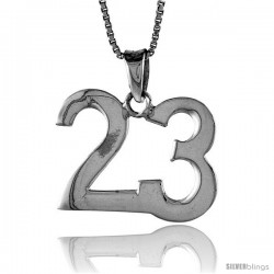 Sterling Silver Digit Number 23 Pendant 3/4 in. (18 mm)