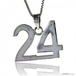 Sterling Silver Digit Number 24 Pendant 3/4 in. (18 mm)