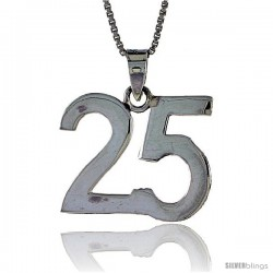 Sterling Silver Digit Number 25 Pendant 3/4 in. (18 mm)